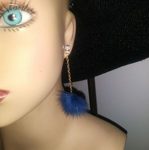 Faux-Fur Pom-Pom Drop Earring